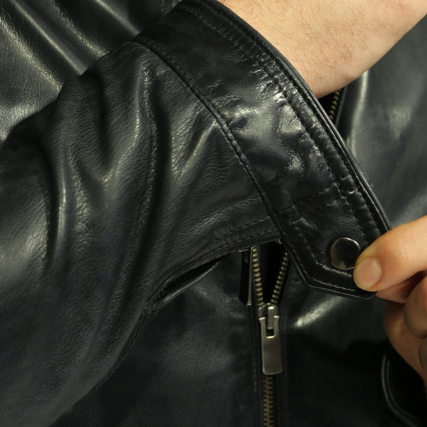Two selection black leather jacket cuff detail