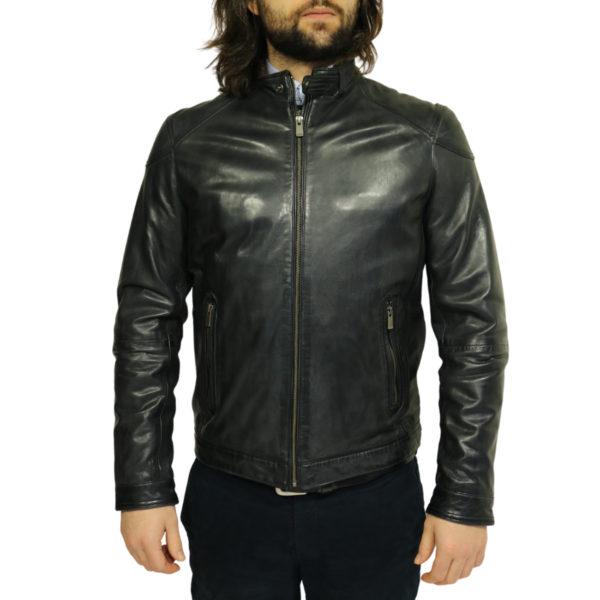 Two selection black leather jacket front closed