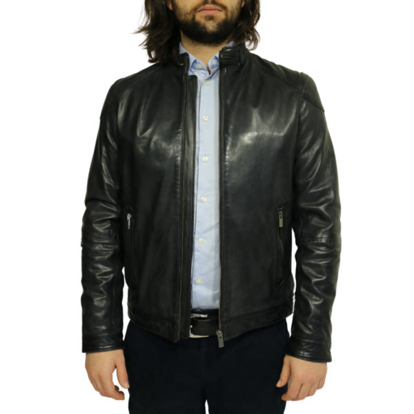 Two selection black leather jacket front open