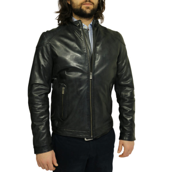 Two selection black leather jacket side