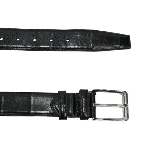 WARWICKS PRINT Black leather belt2