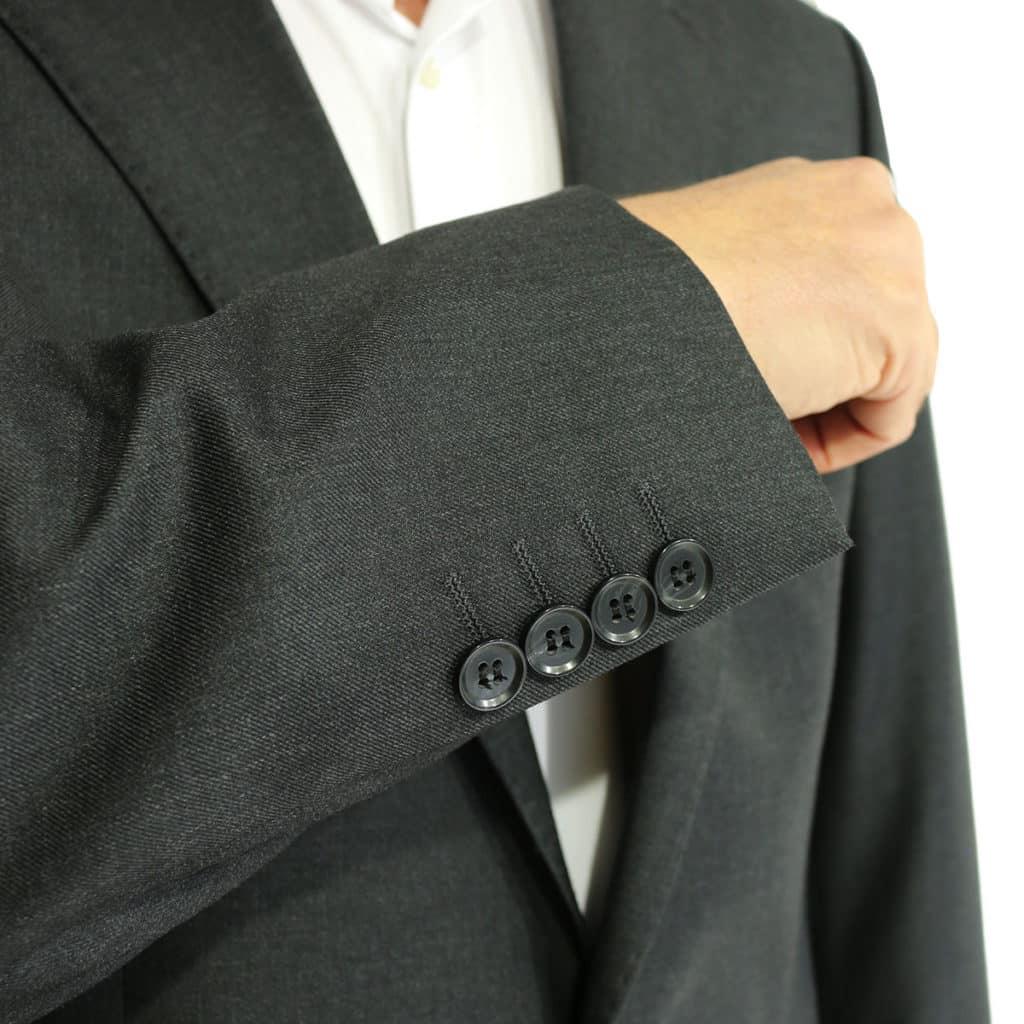 Warwicks charcoal suit button details