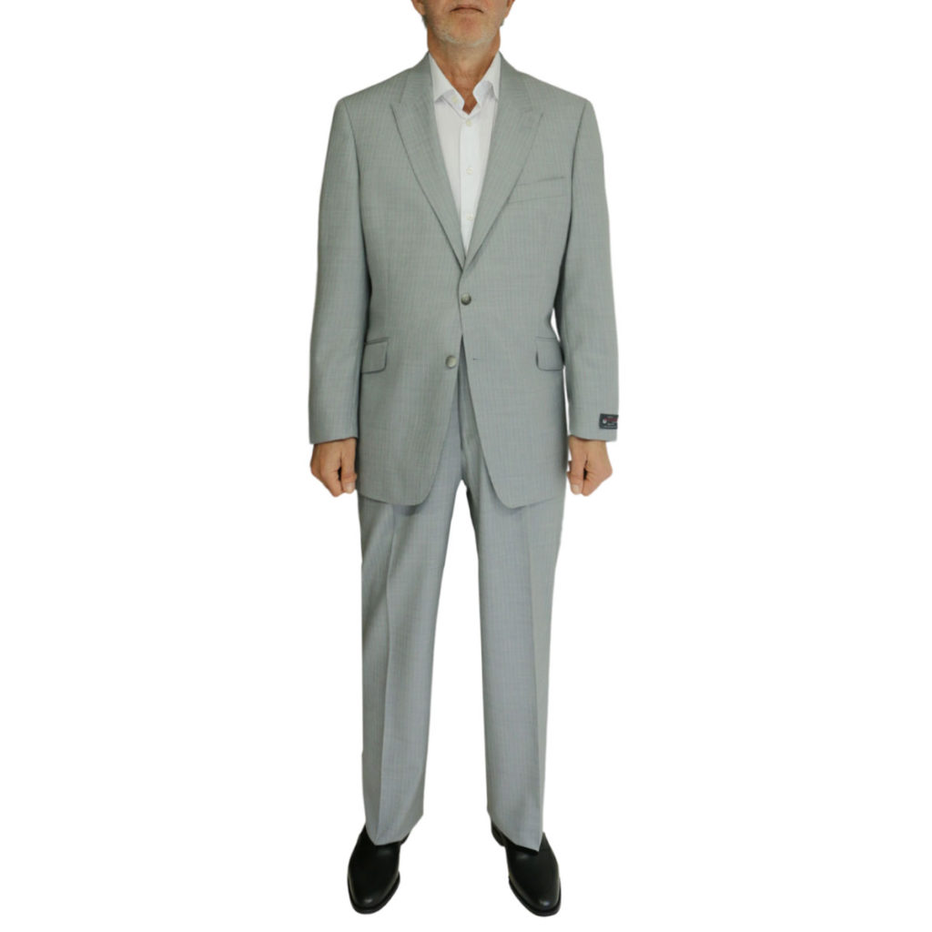 Warwicks grey herringbone suit front