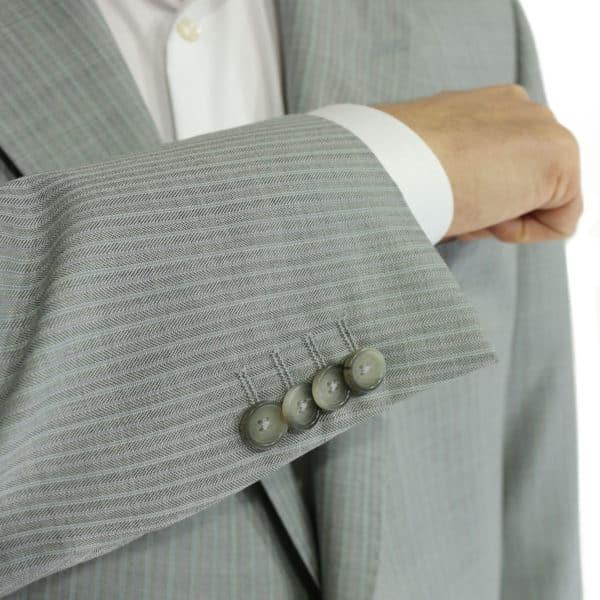 Warwicks herringbone grey suit button detail
