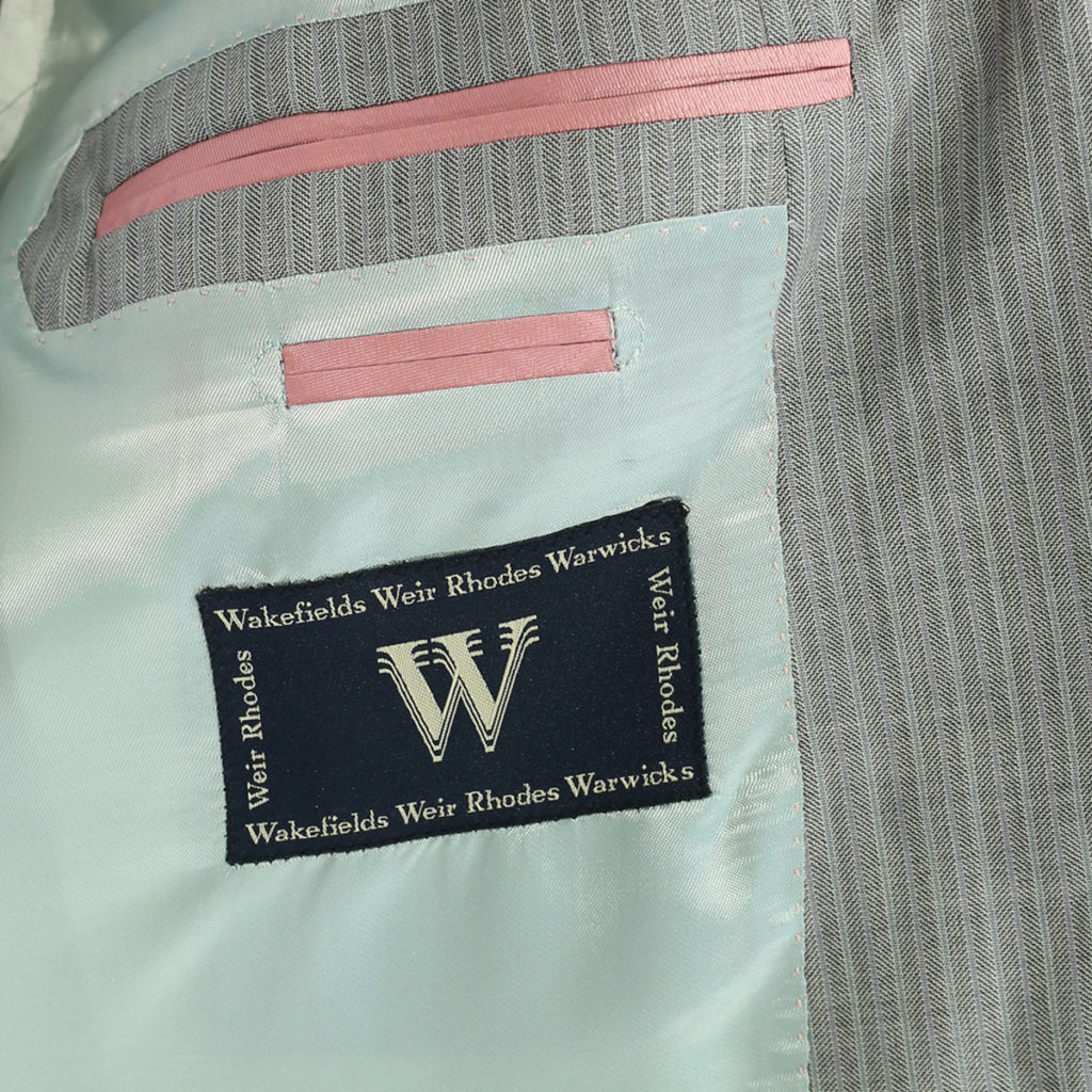 Warwicks herringbone grey suit lining
