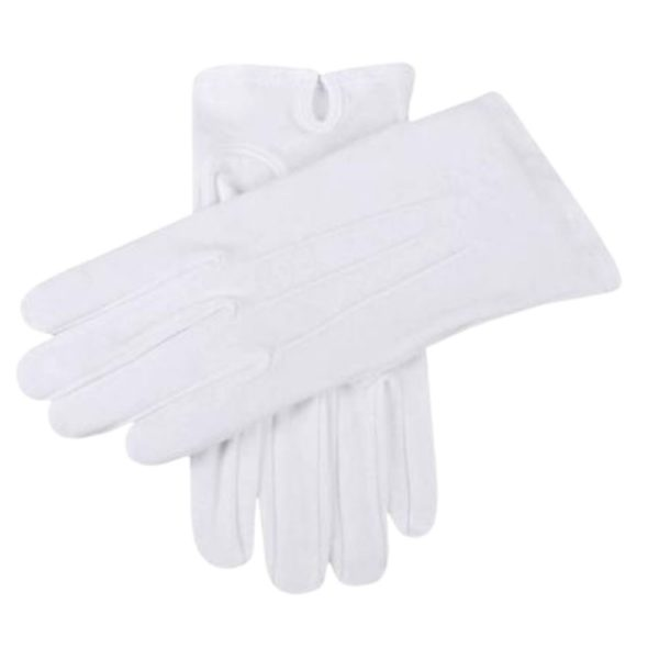 White Cotton Mens Dress Gloves