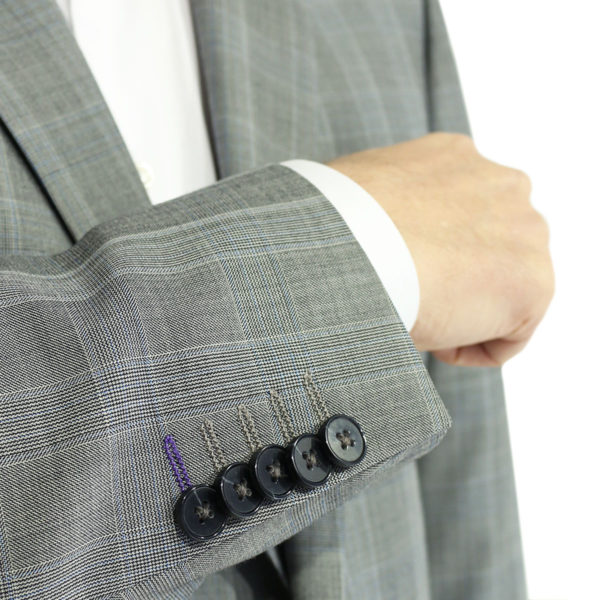 Without Prejudice grey check suit inner button detail
