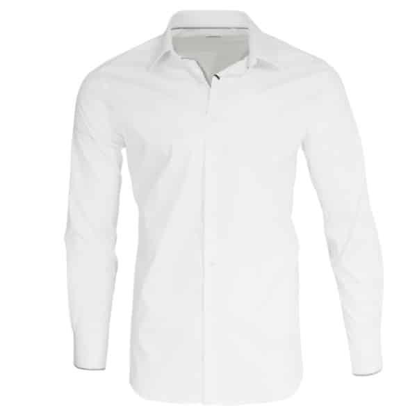 Xacus white shirt with black chess trim