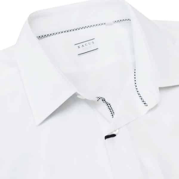 Xacus white shirt with black chess trim collar