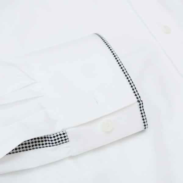 Xacus white shirt with black chess trim cuff