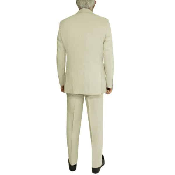 beige linen suit back
