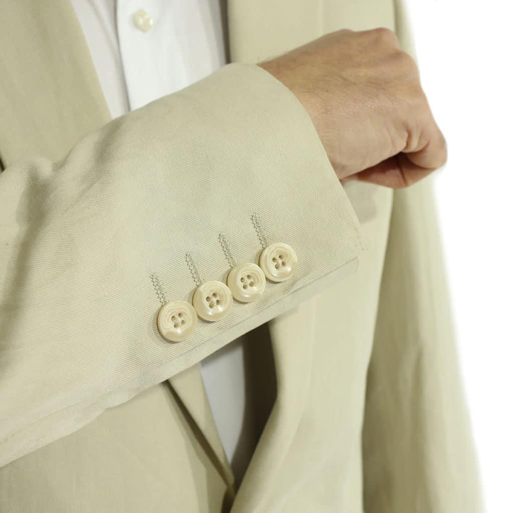 beige linen suit buttons
