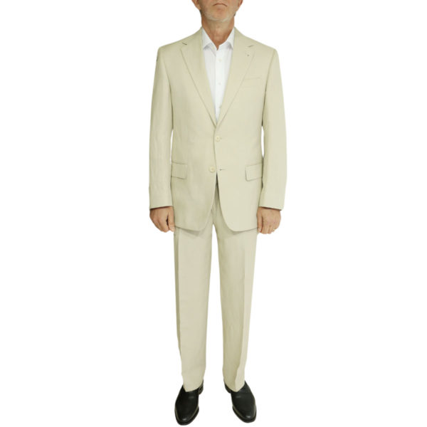 beige linen suit front