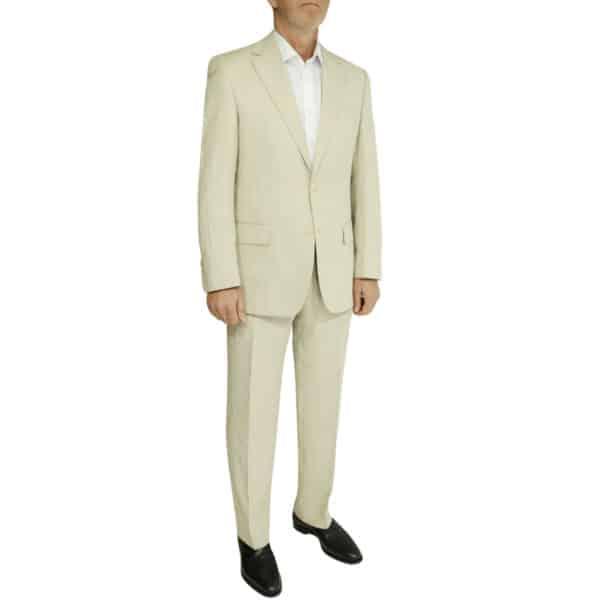 beige linen suit side