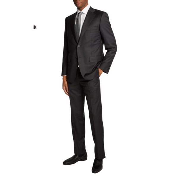 canali charcoal regular fit suit back