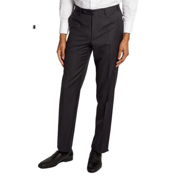 canali charcoal regular fit trousers