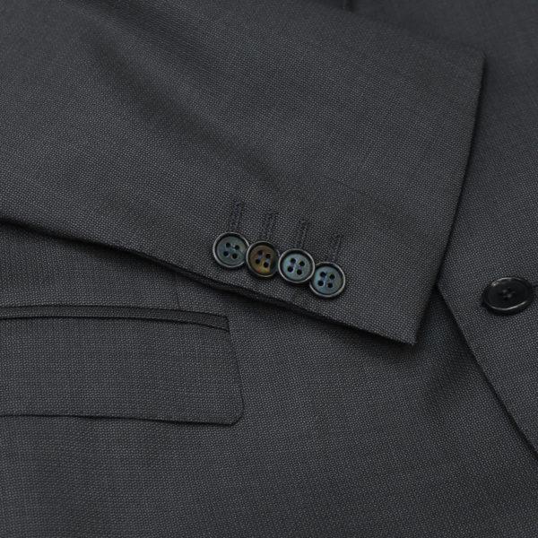 canali suit charcoal button detail1
