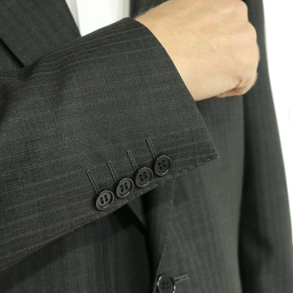charcoal stripe suit close up
