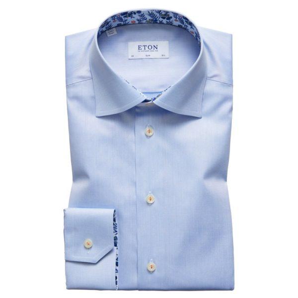 eton shirts slim fit blue eton shirt with floral trim p27386 134535 image
