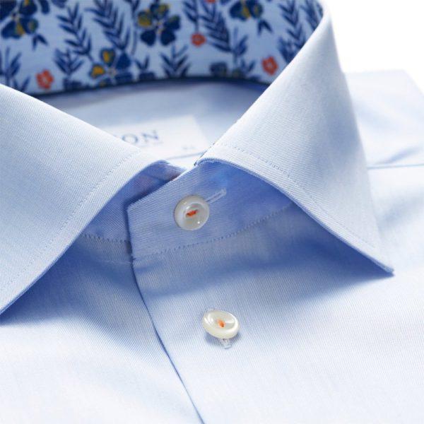 eton shirts slim fit blue eton shirt with floral trim p27386 134542 image