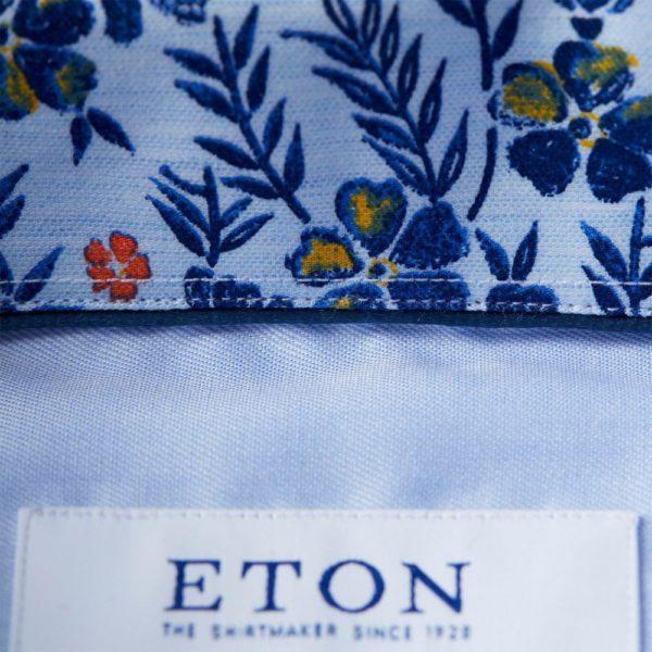 eton shirts slim fit blue eton shirt with floral trim p27386 134549 image