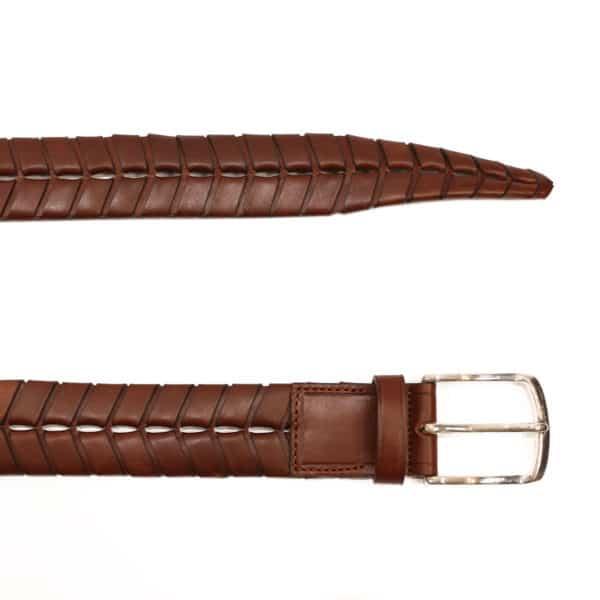 leather belt braid brown2