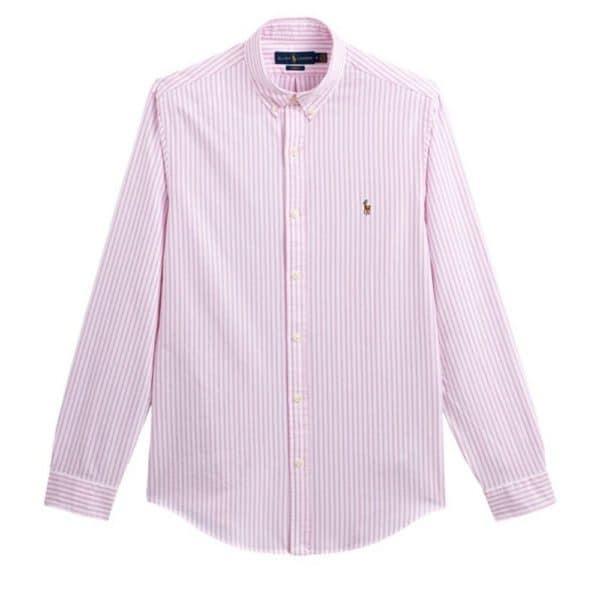 polo ralph lauren pink oxford striped