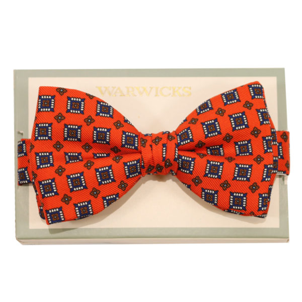 warwicks bow tie red with white squares