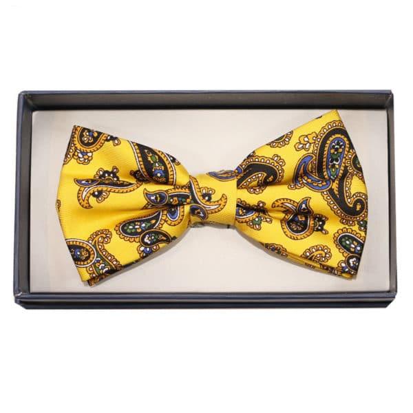 warwicks bow tie yellow paisley