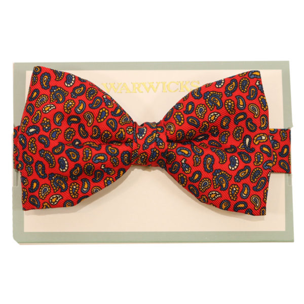 warwicks paisley print red bow tie2