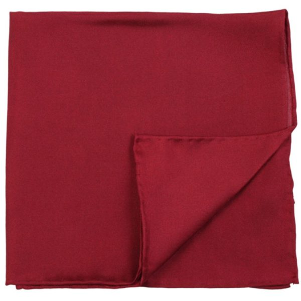 Amanda Christensen Solid Colour Pocket Square Burgundy