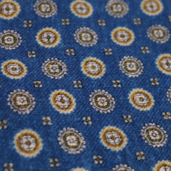 Amanda Christensen pocket square blue pattern close up
