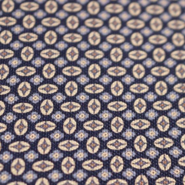 Amanda Christensen pocket square blue shapes close up