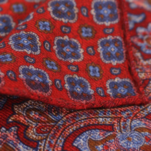 Amanda Christensen pocket square burgundy close up