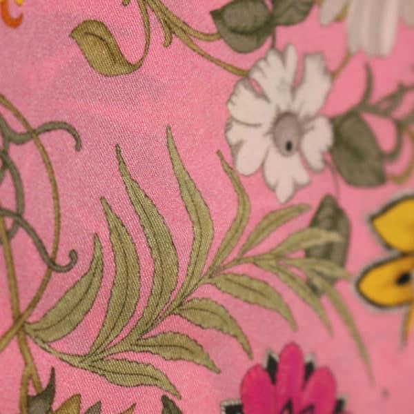 Amanda Christensen pocket square pink flower print close up