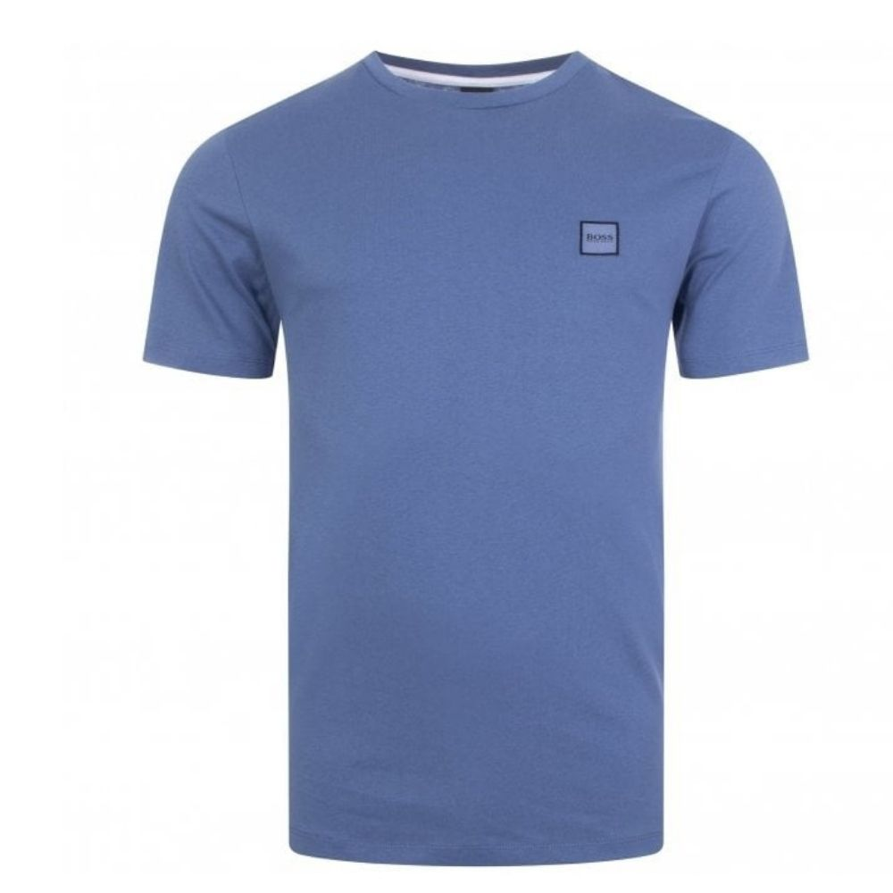 BOSS Blue Crew neck T shirt in single jersey cotton front