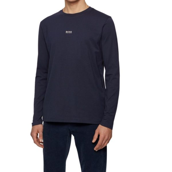 BOSS Dark Blue Long sleeved stretch cotton T shirt with five layer logo front
