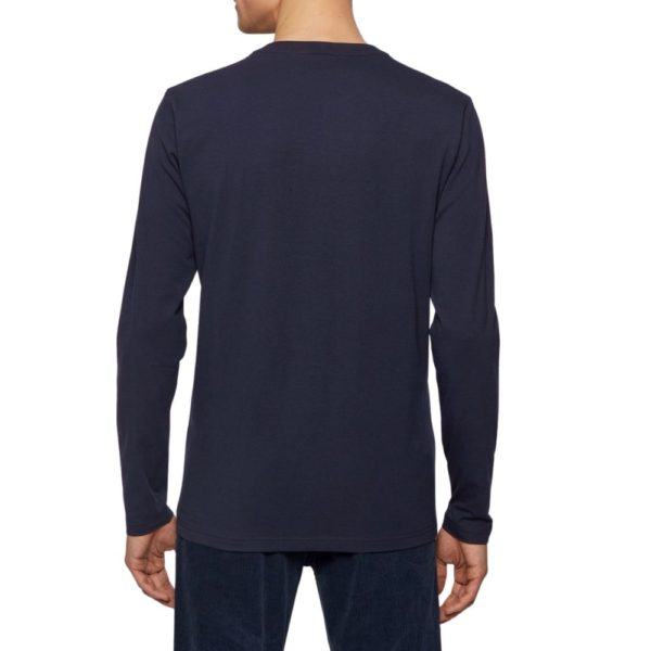 BOSS Dark Blue Long sleeved stretch cotton T shirt with five layer logo rear