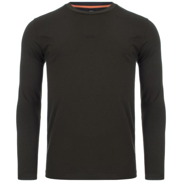 BOSS Green Long sleeved stretch cotton T shirt with five layer logo front