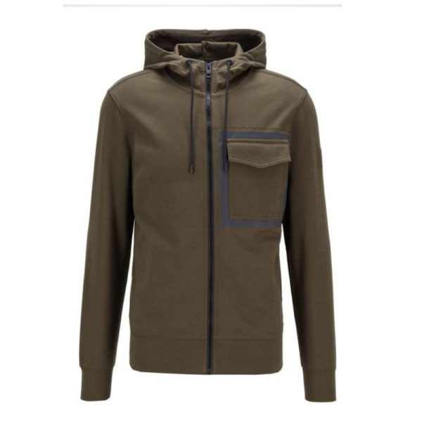 BOSS Khaki cotton Zip through Hoodie with rubber panel print front