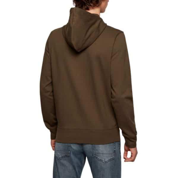 BOSS Khaki cotton Zip through Hoodie with rubber panel print rear