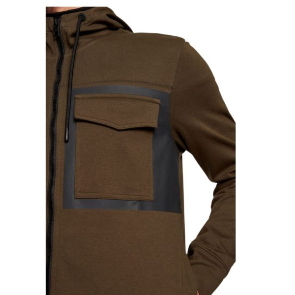 BOSS Khaki cotton Zip through Hoodie with rubber panel print side