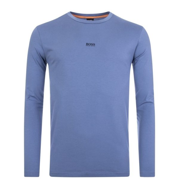 BOSS Light Blue Long sleeved stretch cotton T shirt with five layer logo front