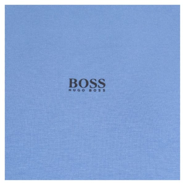 BOSS Light Blue Long sleeved stretch cotton T shirt with five layer logo patch