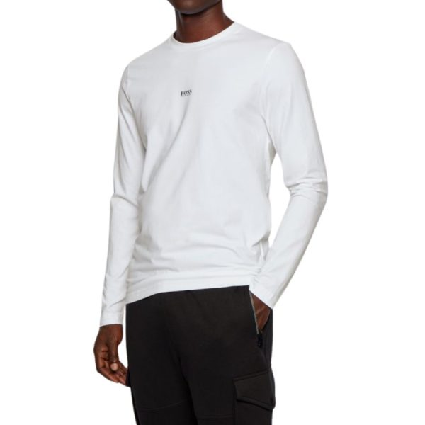 BOSS Long sleeved white stretch cotton T shirt with five layer logo front
