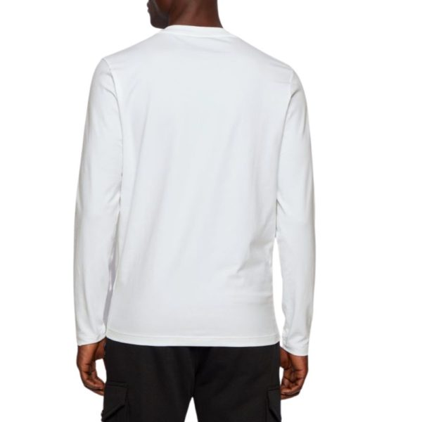 BOSS Long sleeved white stretch cotton T shirt with five layer logo rear