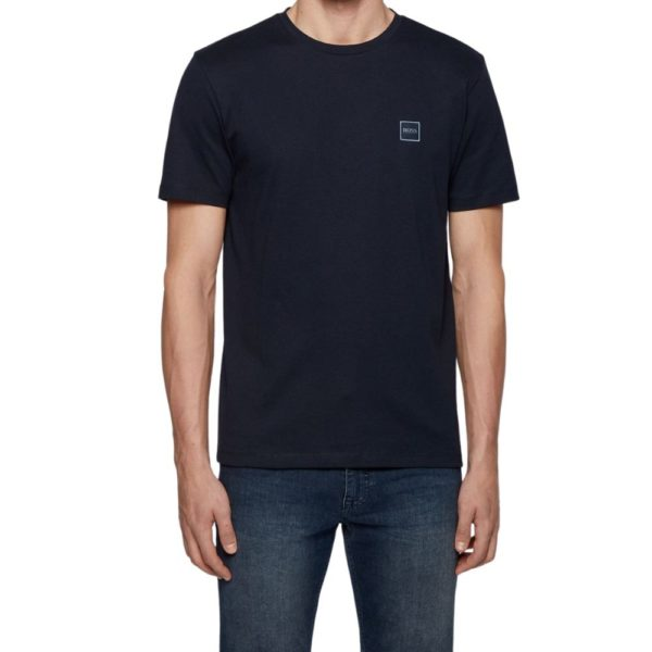 BOSS Navy Crew neck T shirt in single jersey cotton front