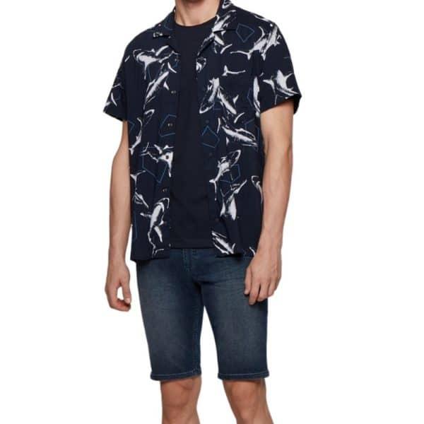 BOSS Navy Crew neck T shirt in single jersey cotton open