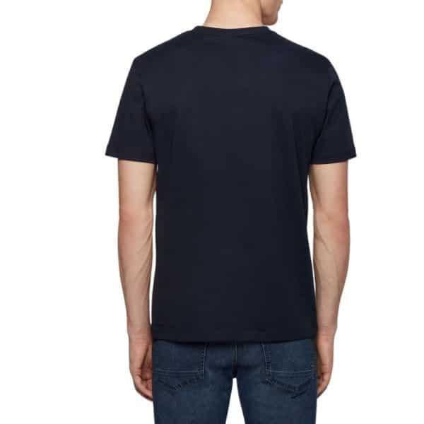 BOSS Navy Crew neck T shirt in single jersey cotton rear
