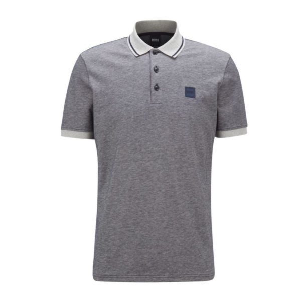 BOSS Regular fit Grey polo shirt in melange cotton front